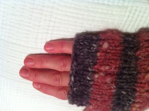 Wrist Warmers--How far to knit up pinkie
